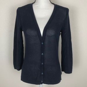 CAbi Navy Blue Loose Knit Button Cardigan Size M